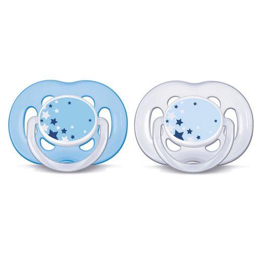 Chupeta-Freeflow-Noturna-Dupla-6-a-18-meses-Philips-Avent---SCF181-24---Azul-e-Transparente